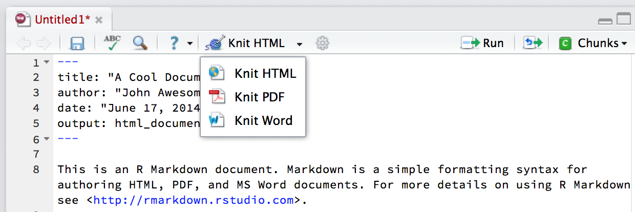 knit 탭^[https://rstudioblog.files.wordpress.com/2014/06/r-markdown-formats.png]