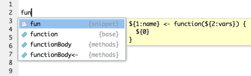 RStudio v0.99 Preview: Code Snippets