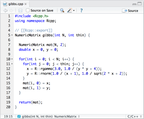 We can make this function available to R by simply sourcing the C++ ...
